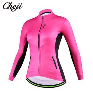 Women's Thermal Winter Cycling Jersey Top Long Sleeve Fleece Bike Bicycle Jacket