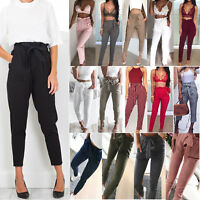 Women High Waist Paper Bag Cropped Pants Tie Belt Skinny Slim Cigarette Trousers