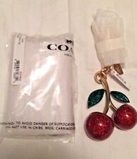 COACH F58516 RESIN CHERRY BAG CHARM KEY RING FOB GOLD RED NWT
