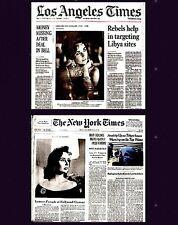 Elizabeth Taylor Newspaper Lot of 2 Different Tribute 2011 LA Times NY Times Liz