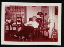 Vintage Photograph Older Man Sitting in Chair in Retro Living Room