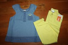 NWT Gymboree Pocketful of Sunshine Size 5 Set Blue Sun  Shirt Yellow Jeans Pants