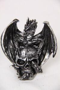 Silver Look Dragon On Skull Figurine