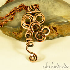 Antiqued Pure Copper Antiqued Wire Wrapped Pendant Artisan Handcrafted Necklace