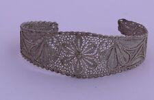 Vintage Filigree Big Stamped Flower Handmade Sterling Silver Bracelet Cuff