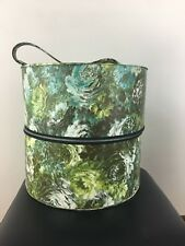 9d8cc86f6ba Vintage Vinyle Handled Hat Wig Travel Box with Head Form Green Floral Retro  1960