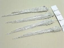 4 Eiszapfen 15cm transparent silber Christbaumschmuck Deko Zapfen Kunststoff