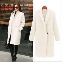 Winter Women's Stylish Loose Lapel Wool Blend Trench Coat Outwear Long Sleeve