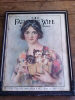 The Farmers Wife framed cover  September 1927 Kittens in basket framed