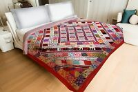 Indian Kantha Quilt King Applique Patchwork Bedspread Throw Bedding Bed Cover