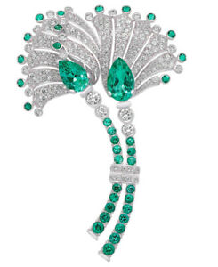 3.45ct Natural Round Diamond Yellow Emerald 14K Solid White Gold Brooch Pin