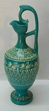 Greek Vase Pitcher Teal White Stork Bird Designs Hand Made Greece Signed Vintage