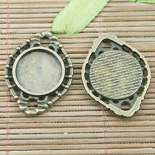 8pc antiqued bronze color rim round shaped cabochon settings connector EF1225
