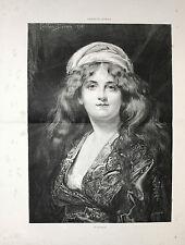 Stampa antica RITRATTO DI GIOVANE DONNA con lunghi capelli 1885 Old print