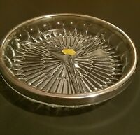 """Vintage 9"""" Relish Tray Crystal w/ Silver Plate Rim 3 Section Dish Leonard Italy"""
