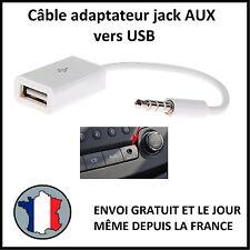 CABLE ADAPTATEUR JACK 3,5MM AUX MALE AUDIO USB MP3 SON CONVERTISSEUR SMARTPHONE