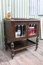 A Jacobean Oak Drinks Trolley Leadlight Cabinet c.1920's - Auto Trolley