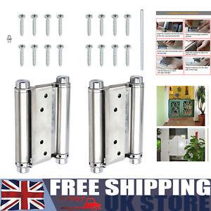 2pcs 4'' double spring hinge swing door gate salon kitchen stainless steel 100mm
