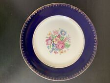 Royal Harvey Staffordshire China England Dinner Plate Cobalt Blue Flowers