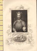 C1860 Vittoriano Stampa ~ Edward II ~ Battle Di Bannockburn