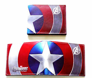 Mens Bifold Wallet Boys Gents Avengers Captain America Coins Cards id cartoon