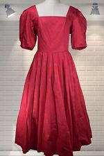 Vintage LAURA ASHLEY Victorian Style Fuchsia & Gold Full Skirted Evening Dress