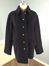 Talbots Navy Blue Boiled Textured Wool Long Coat S 4 Winter Silver Buttons *