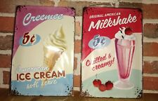 Lot 2 plaques métal 20 x 30 cm en relief Ice Cream Milkshake NEUVES
