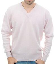 Balldiri 100% Cashmere Uomo Pullover Scollo a V 4-fädig sottilmente Rosa XXXXL