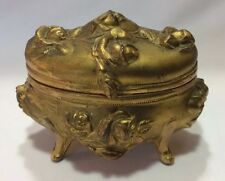 1904 Art Nouveau Gold Floral Jewelry Casket Trinket Box Hinged Victorian Antique
