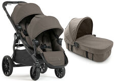 Baby Jogger City Select Lux Twin Double Stroller Taupe w Second Seat & Bassinet