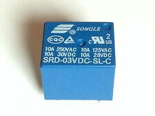 5x 3V Relais SRD-03VDC-SL-C | 250VAC 10A; 30VDC 10A | Leistungsrelais | 5 Stück