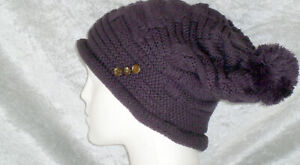 WOMEN'S KNITTED PURPLE THICK WOLLY STYLE OVERSIZED FASHION SLOUCH