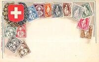 Stamp Card Postcard Showing Helvetia Switzerland Postage Stamps~107981