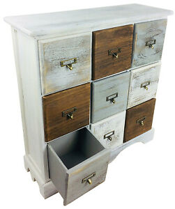 Rustic Merchant Chest of Drawers Wooden Storage Cabinet 9 Drawer Unit Sideboard