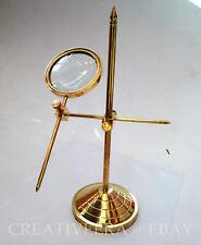 Solid Brass Desktop Magnifying Glass Vintage Adjustable Stand Magnifier Gifts
