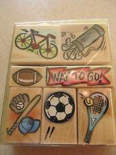 LOT 7 Hero Arts  Rubber Stamps Wood  Sports baseball football golf bike soccer