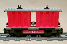 LEGO Train CUSTOM Carriage Dual Red Container Flatbed Cargo Wagon 60198 60052