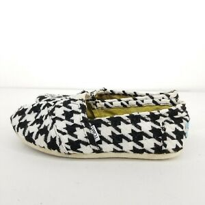B14 Toms Womens Classic Scottish Houndstooth Black White Slip On Flats Size 8.5