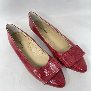 VANELi Flats Shoes Womens 8.5 Red Embossed Leather Loafers Reptile Print Bow