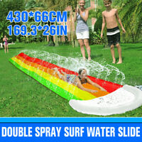 ❤️ Inflatable Surf Water Slide Mat Lawn Children Summer Pool Games Toys Backyard