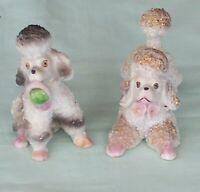 Vintage Poodle Figurines x 2 Spaghetti Trim Dogs Japan