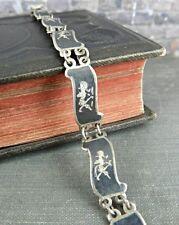 "Siam Sterling Silver Black Nielloware Link Bracelet 6.75"""