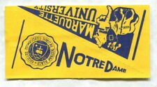 1961 NU-CARDS FOOTBALL PENNANT NOTRE DAME & MARQUETTE UNIVERSITY