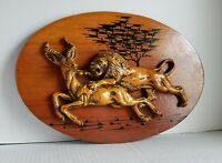 Lion Hunting Gazelle Sculpture Wall Art Vintage African Animal Deer Home Decor