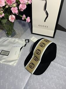 Gucci 100% Authentic Baseball Striped Wool Cap Hat Black Size S New RRP £395