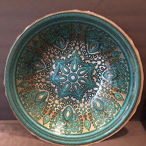"Decorative Glass Bowl Plate Embossed Mandala Silver Aqua 15""x3.25"" ~ Stunning"