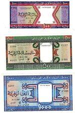 LOT SET SERIE 3 BILLETS Mauritanie Mauritania 100 500 1000 Ouguiya 1985 UNC NEUF