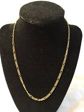"Estate 14K Yellow Gold FIGARO Link Chain Necklace 18.25"" Long 3mm 6.1 Grams 585"