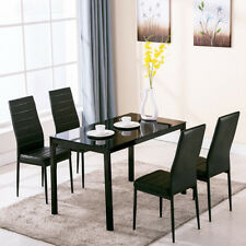 Black 5PCS Glass Square Dining Room Table Set and 4Chair Faux Leather High Gloss